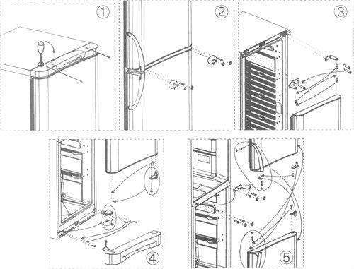 Инструкция по перевеске двери холодильника